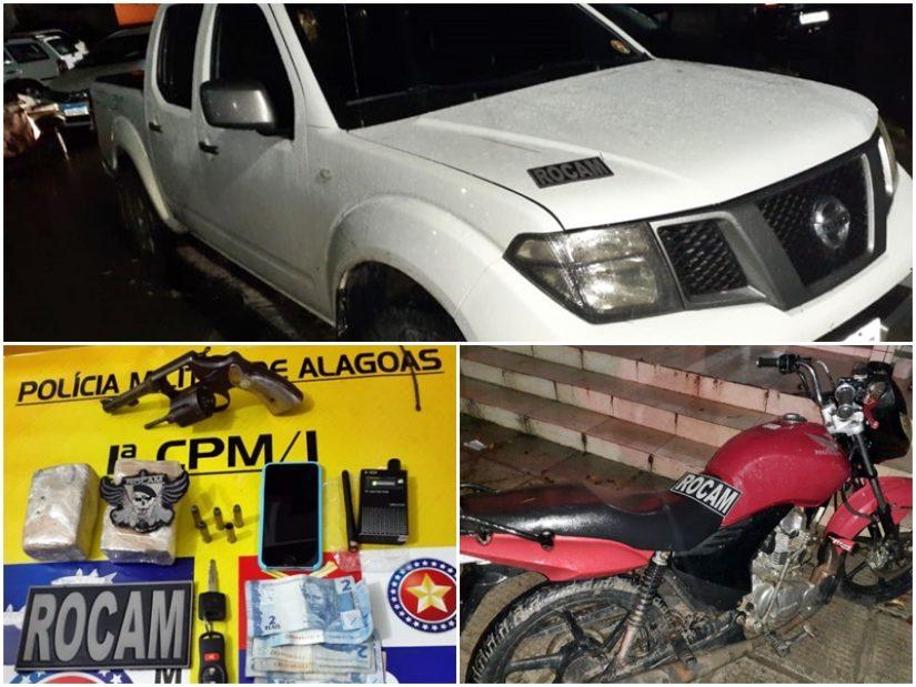 1ª Cia Independente recupera dois veículos roubados, apreende arma e drogas e prende assaltantes
